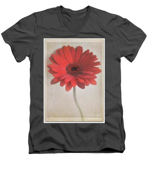 Men's V-Neck T-Shirt featuring the photograph Gerbera Daisy by Lyn Randle