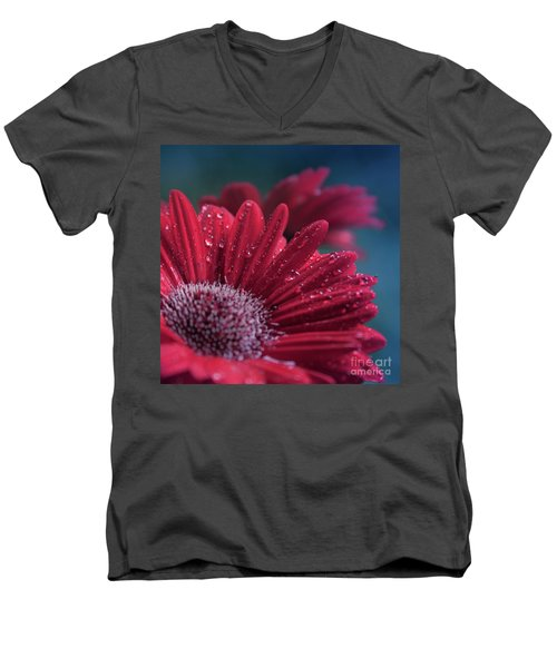 Men's V-Neck T-Shirt featuring the photograph Gerbera Red Jewel by Sharon Mau