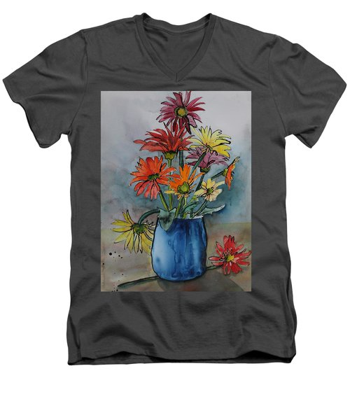 Gerberas In A Blue Pot Men's V-Neck T-Shirt