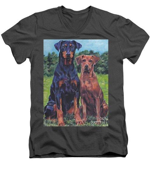 Men's V-Neck T-Shirt featuring the painting German Pinschers by Lee Ann Shepard