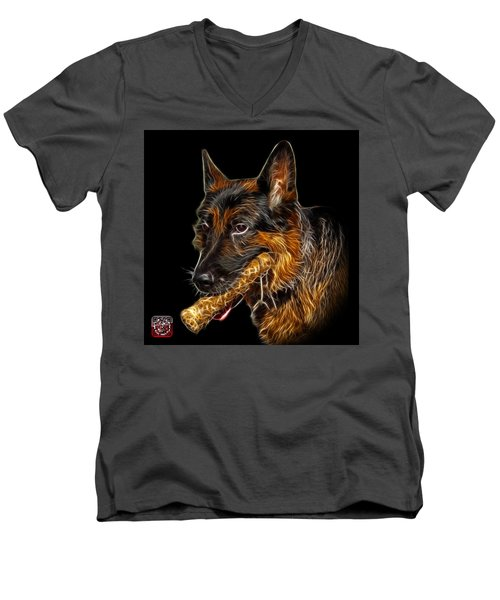 German Shepherd And Toy - 0745 F Men's V-Neck T-Shirt