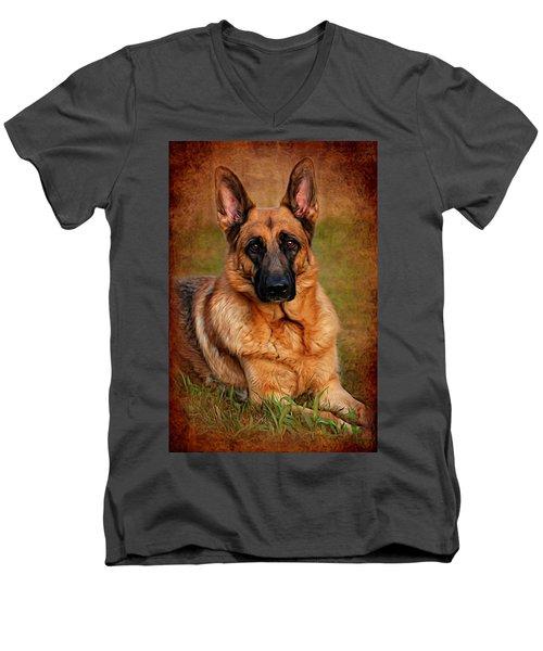 German Shepherd Dog Portrait  Men's V-Neck T-Shirt