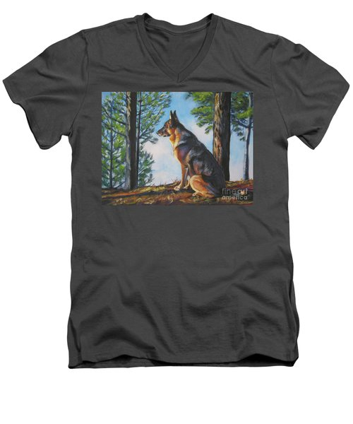 German Shepherd Lookout Men's V-Neck T-Shirt