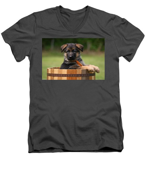 German Shepherd Puppy In Planter Men's V-Neck T-Shirt