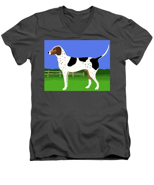 Men's V-Neck T-Shirt featuring the painting German Shorthaired Pointer In A Field by Marian Cates