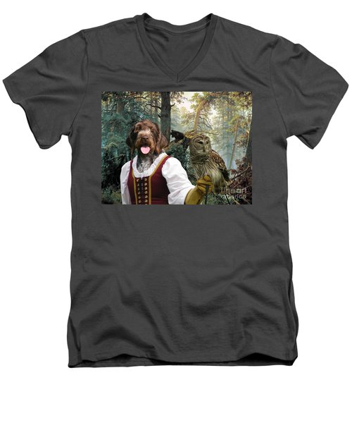 German Wirehaired Pointer Art Canvas Print - Lady Owl And Little Bears Men's V-Neck T-Shirt
