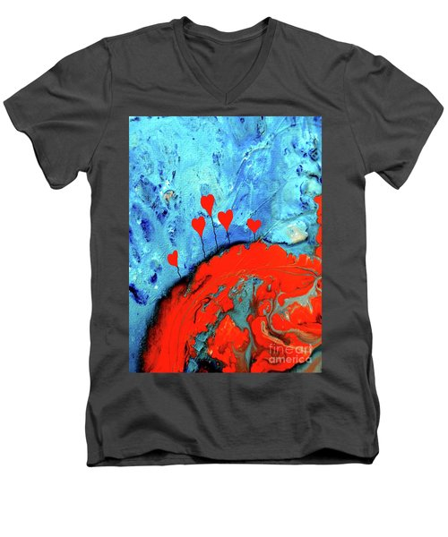 Germinating Love Men's V-Neck T-Shirt by Saribelle Rodriguez