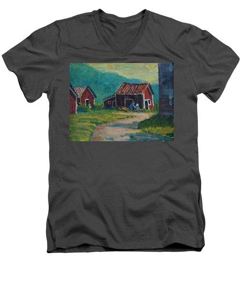 Getting Ready For Winter Men's V-Neck T-Shirt by Len Stomski