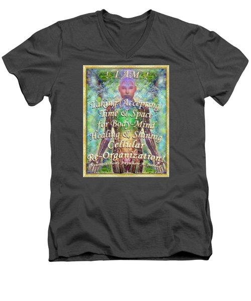 Men's V-Neck T-Shirt featuring the digital art Getting Super Chart For Affirmation Visualization V2 by Christopher Pringer