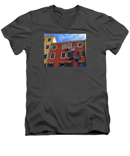 Men's V-Neck T-Shirt featuring the photograph Getting To Know You by Lynda Lehmann