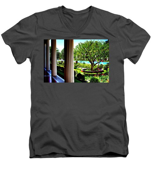 Men's V-Neck T-Shirt featuring the photograph Getty Villa Peristyle Garden by Joseph Hollingsworth