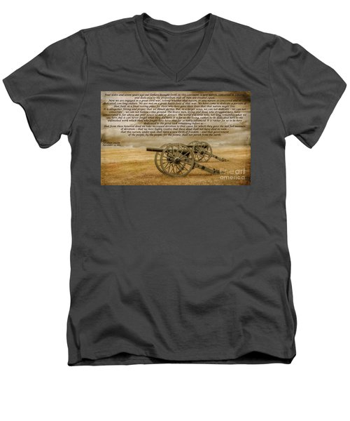 Gettysburg Address Cannon Men's V-Neck T-Shirt