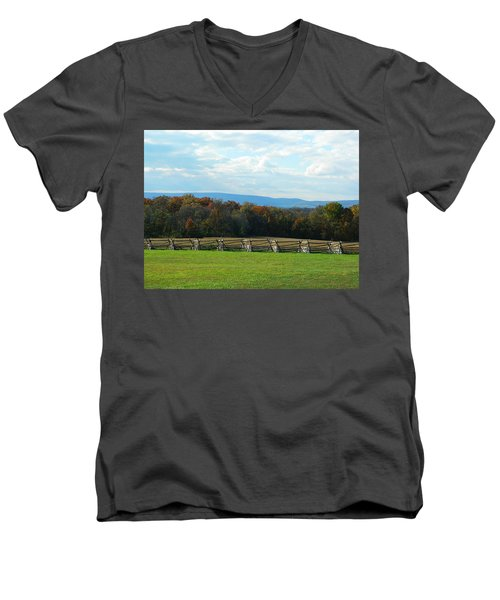 Men's V-Neck T-Shirt featuring the photograph Gettysburg Battlefield And Beyond by Emmy Marie Vickers
