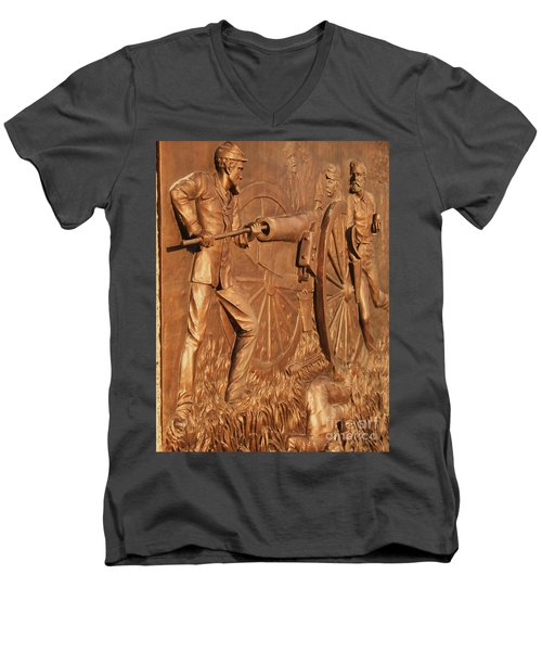 Gettysburg Bronze Relief Men's V-Neck T-Shirt by Eric  Schiabor