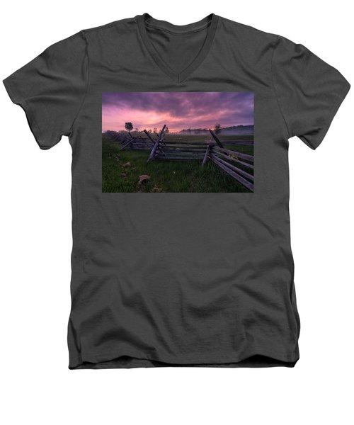 Gettysburg Mornings... Men's V-Neck T-Shirt by Craig Szymanski