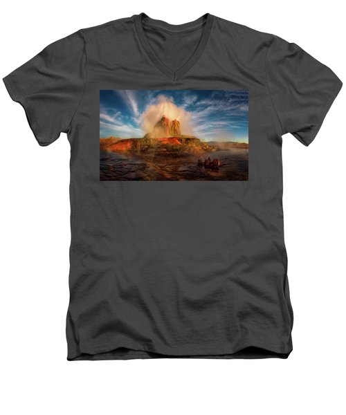 Geyser Steams At Dawn Men's V-Neck T-Shirt