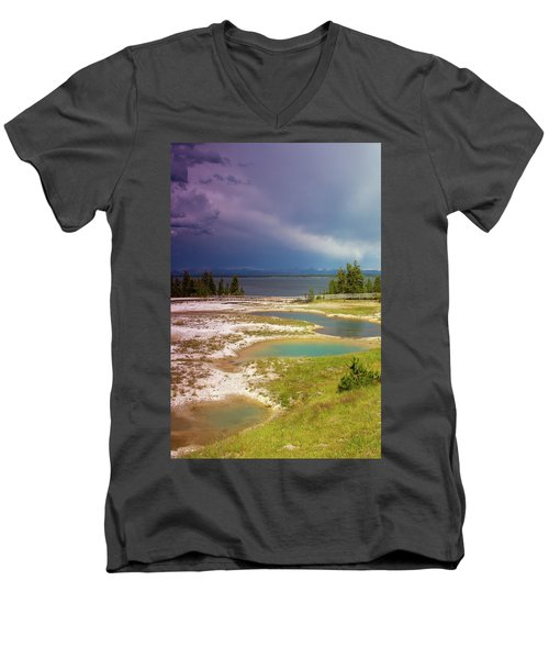 Men's V-Neck T-Shirt featuring the photograph Geysers Pools by Dawn Romine