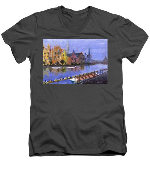Men's V-Neck T-Shirt featuring the painting Ghent by Jamie Frier