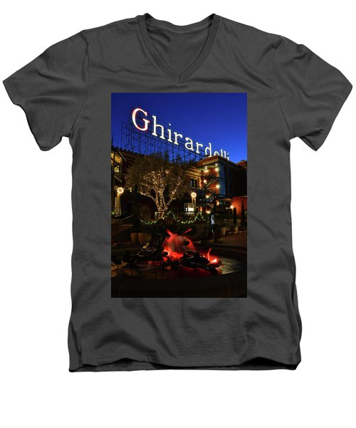 Ghirardelli Square Men's V-Neck T-Shirt by James Kirkikis