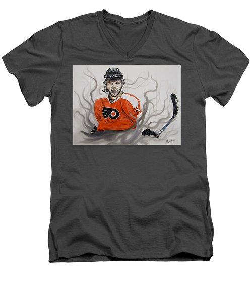 Ghost Bear Men's V-Neck T-Shirt by Kevin F Heuman