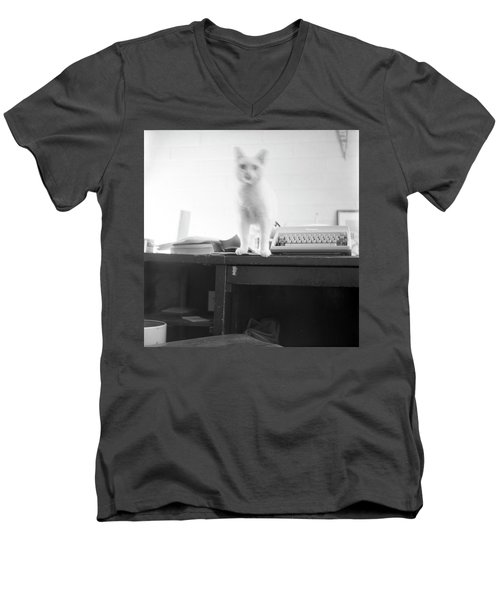 Ghost Cat, With Typewriter Men's V-Neck T-Shirt