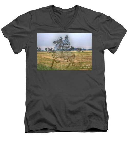 Men's V-Neck T-Shirt featuring the digital art Ghost Of Gettysburg by Randy Steele