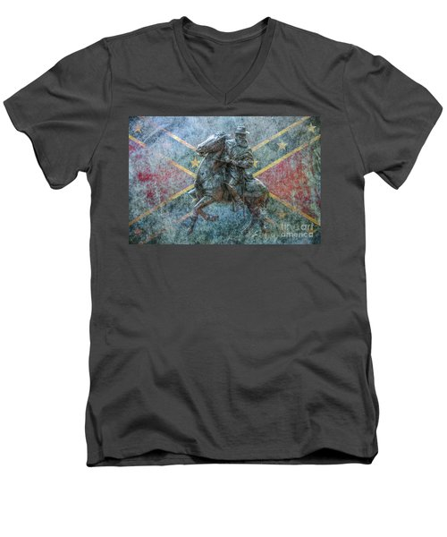 Men's V-Neck T-Shirt featuring the digital art Ghost Of Gettysburg Verson Three by Randy Steele
