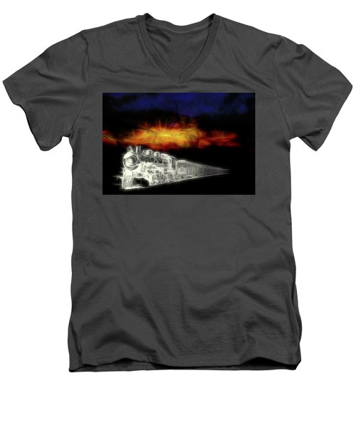 Men's V-Neck T-Shirt featuring the digital art Ghost Train by John Haldane