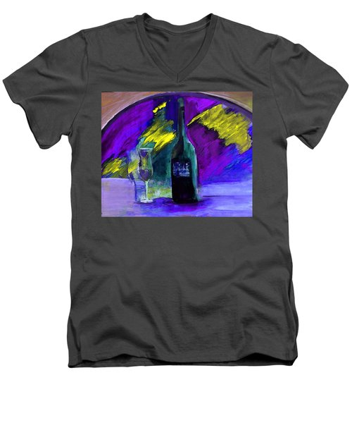Men's V-Neck T-Shirt featuring the painting Ghost Wine by Lisa Kaiser
