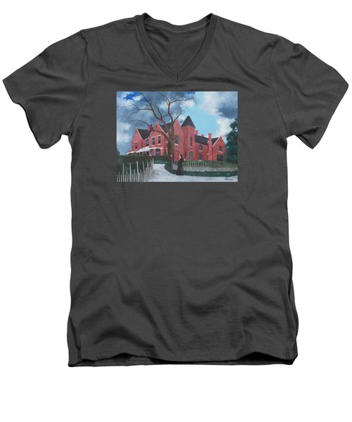 Ghostly Nun Of Borley Rectory Men's V-Neck T-Shirt by Barbara Barber