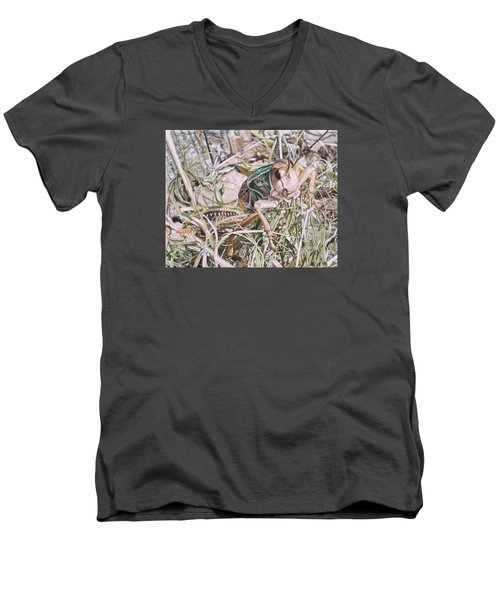 Men's V-Neck T-Shirt featuring the painting Giant Grasshopper by Joshua Martin