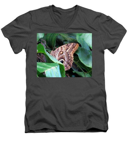 Giant Owl Butterfly Men's V-Neck T-Shirt by Betty Buller Whitehead