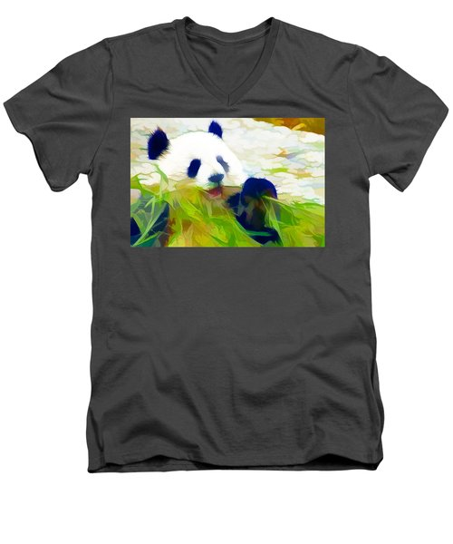 Giant Panda Bear Eating Bamboo Men's V-Neck T-Shirt by Lanjee Chee