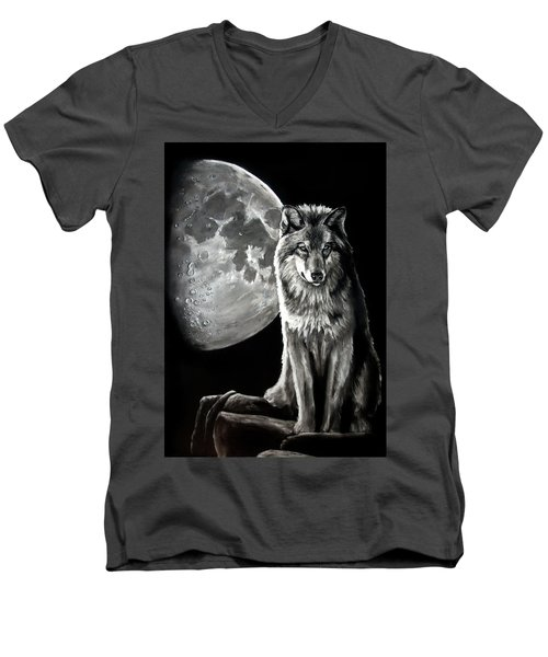 Gibbous Wolf Men's V-Neck T-Shirt