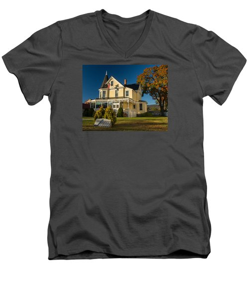 Gibson Woodbury House North Conway Men's V-Neck T-Shirt by Nancy De Flon