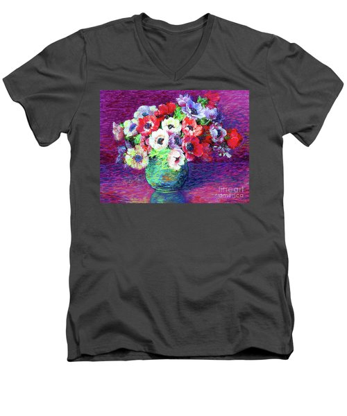 Gift Of Anemones Men's V-Neck T-Shirt by Jane Small