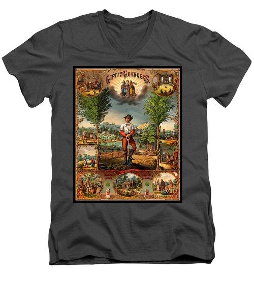 Gift For The Grangers 1873 Victoiran National Grange Agriculture Promotional Art Men's V-Neck T-Shirt