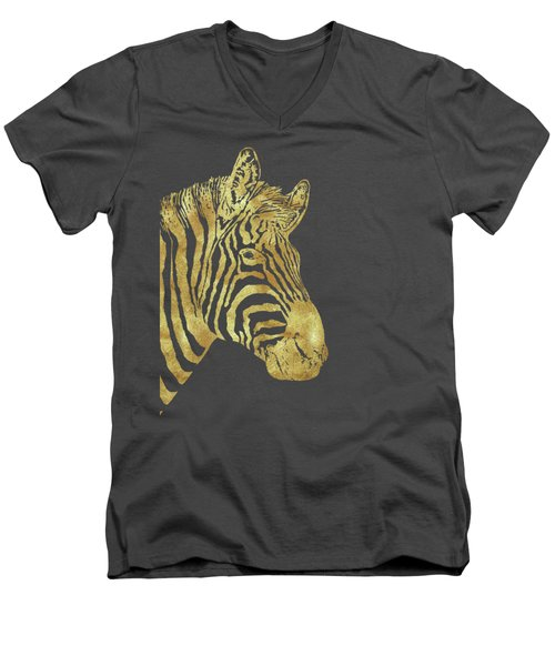 Gilt Zebra, African Wildlife, Wild Animal In Painted Gold Men's V-Neck T-Shirt by Tina Lavoie