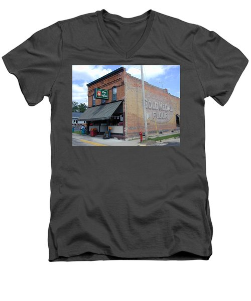 Men's V-Neck T-Shirt featuring the photograph Gina's Pies Are Square by Mark Czerniec