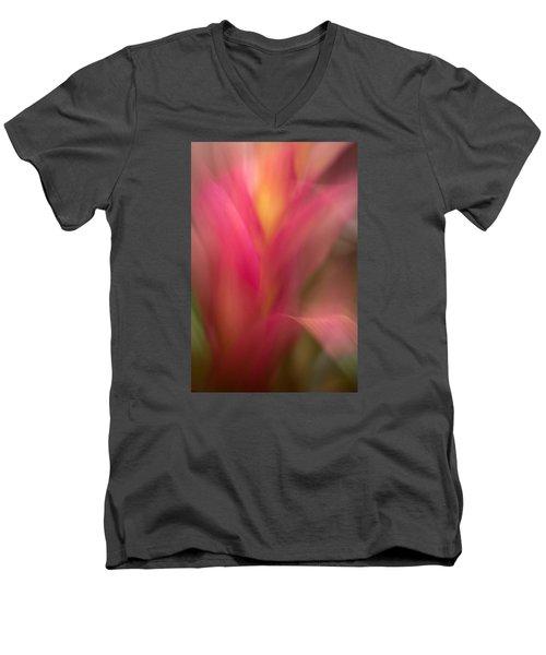 Ginger Flower Blossom Abstract Men's V-Neck T-Shirt by Catherine Lau