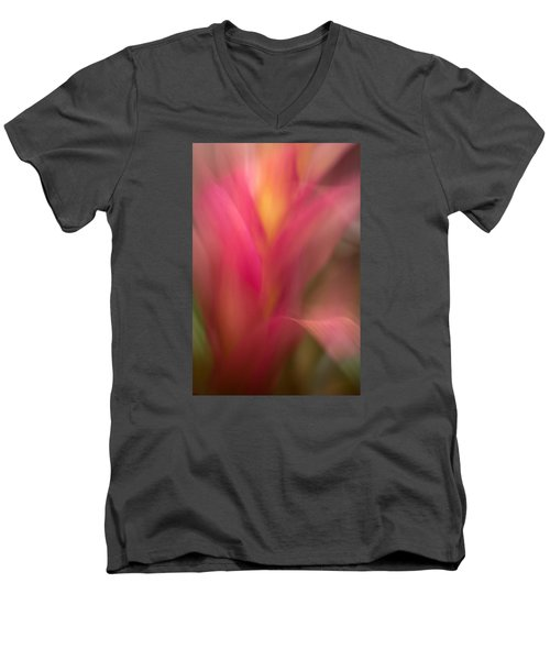 Ginger Flower Blossom Abstract Men's V-Neck T-Shirt