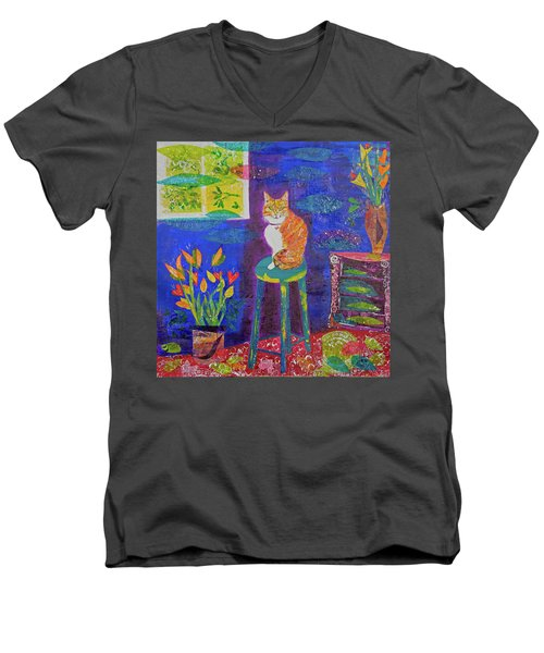 Ginger The Cat Men's V-Neck T-Shirt