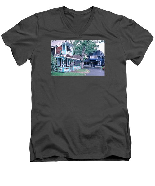 Men's V-Neck T-Shirt featuring the photograph Gingerbread Houses Oak Bluff Martha's Vineyard by Tom Wurl
