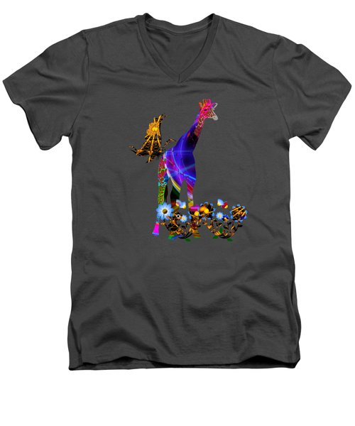 Giraffe And Flowers Men's V-Neck T-Shirt