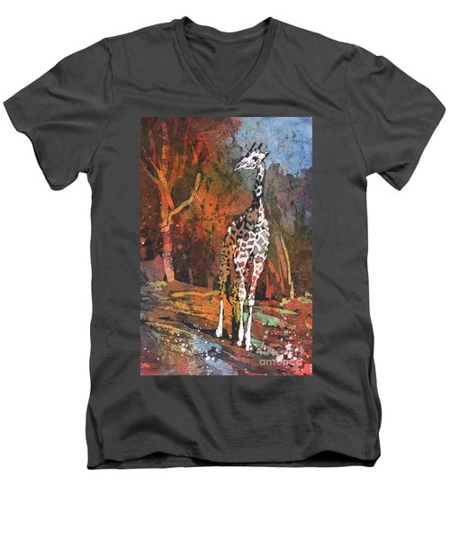 Men's V-Neck T-Shirt featuring the painting Giraffe Batik II by Ryan Fox