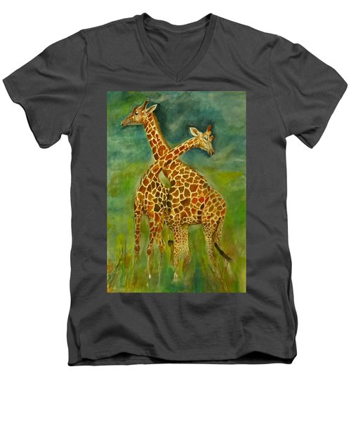 Lovely Giraffe . Men's V-Neck T-Shirt by Khalid Saeed
