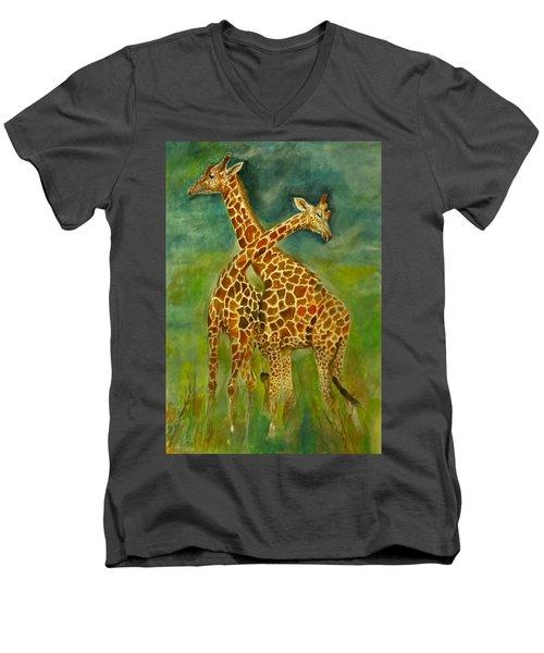 Lovely Giraffe . Men's V-Neck T-Shirt