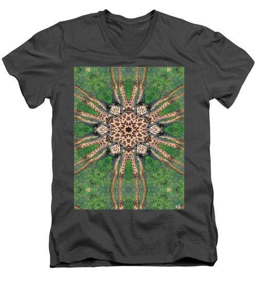 Giraffe Mandala II Men's V-Neck T-Shirt by Maria Watt