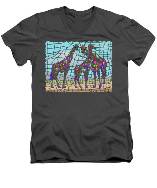 Giraffe Maze Men's V-Neck T-Shirt by Anthony Mwangi