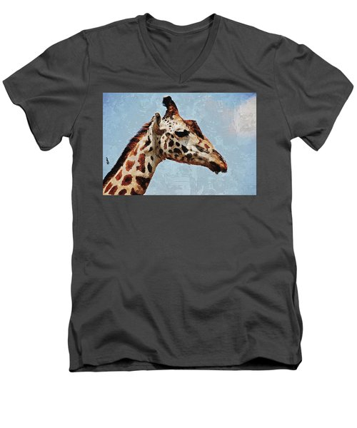 Men's V-Neck T-Shirt featuring the digital art Giraffe Safari  by PixBreak Art